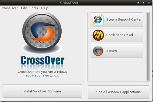 Crossover running on Arch Linux
